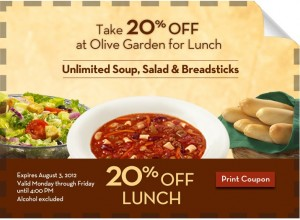 rare olive garden lunch coupon 20 off - Olive Garden Lunch