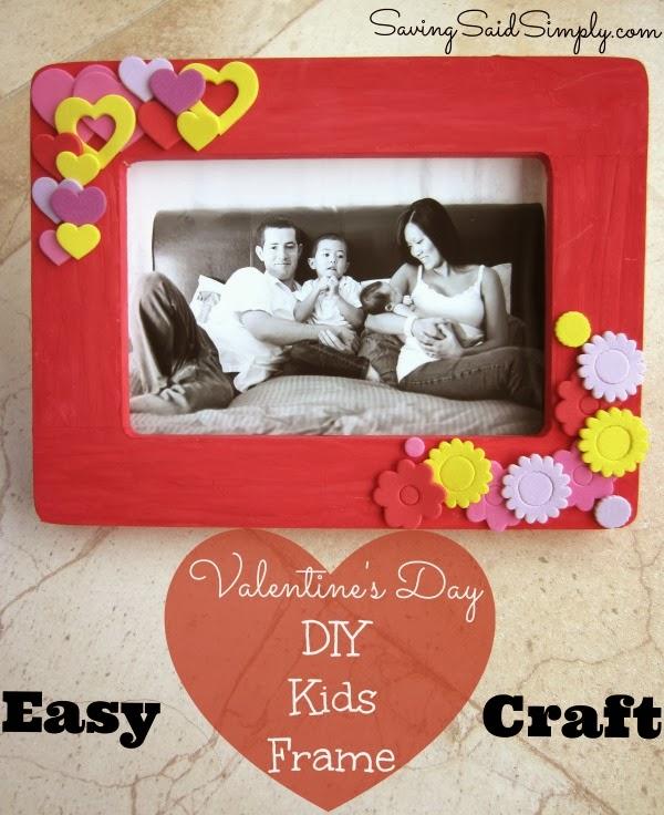 Easy valentine 39 s day diy kids frame craft for Easy photo frame craft