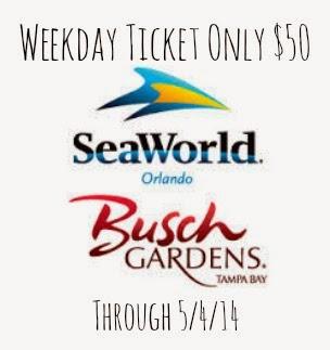 Seaworld Busch Gardens Weekday Ticket Offer Only 50 Through 5 4 Raising Whasians