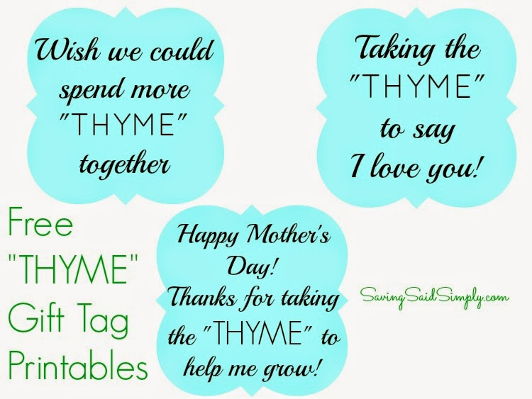 Mother S Day Tags: DIY Mother's Day Gift Idea + FREE Thyme Printable Gift Tags