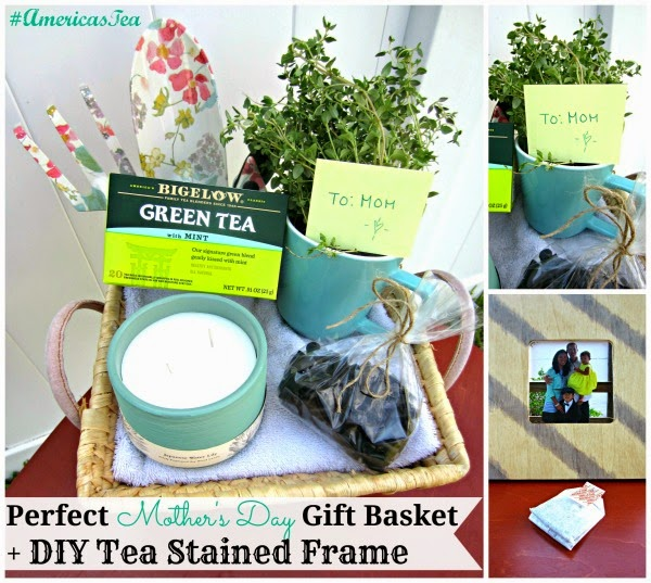 Diy Gift Basket Ideas For Mom: Perfect Mother's Day Gift Basket + DIY Tea Stained Frame