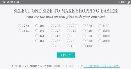 Aerie Size Chart