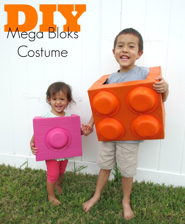 DIY mega bloks Halloween costume Frugal and fun costume idea for kids. This mega blok halloween costume would be perfect for kids or adults of any age. This DIY costume is simple and quick to make. #Costume #CostumeDIY #HalloweenCostume #Halloween