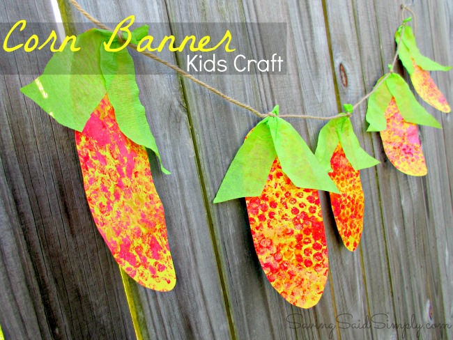 Diy corn banner fall kids craft