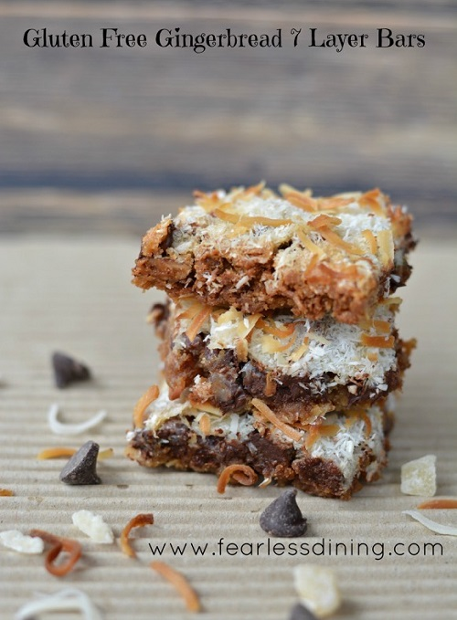 Glutenf ree gingerbread 7 layer bars