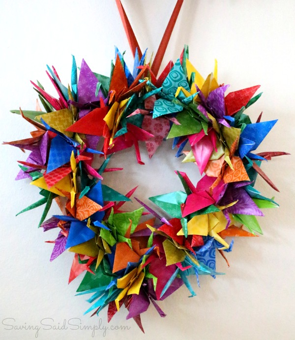 Origami Crane Wreath Craft Tutorial - Raising Whasians - photo#26