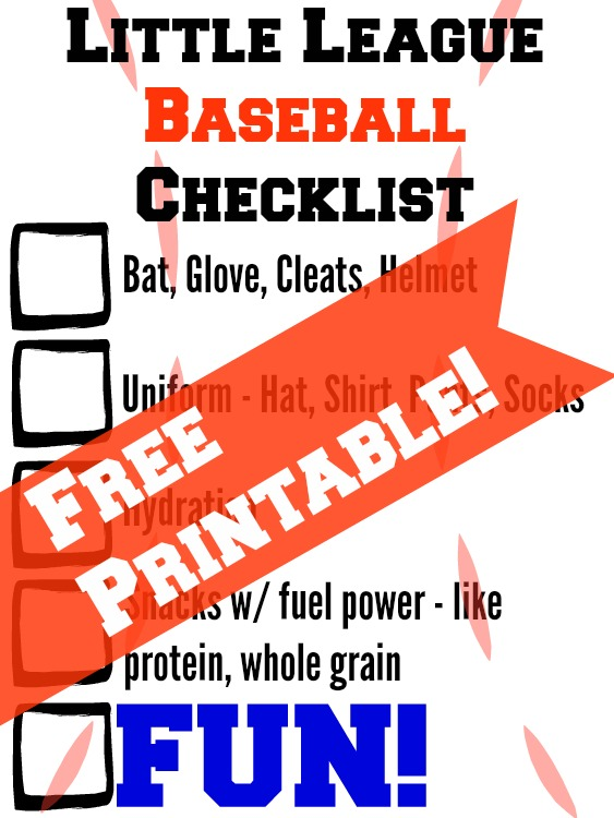 Free printable little league checklist