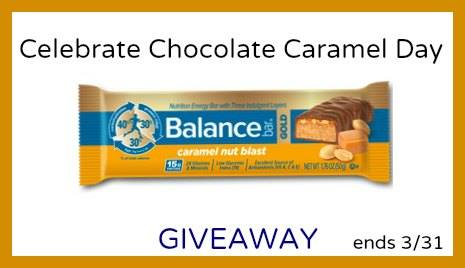 Chocolate caramel balance bar box giveaway