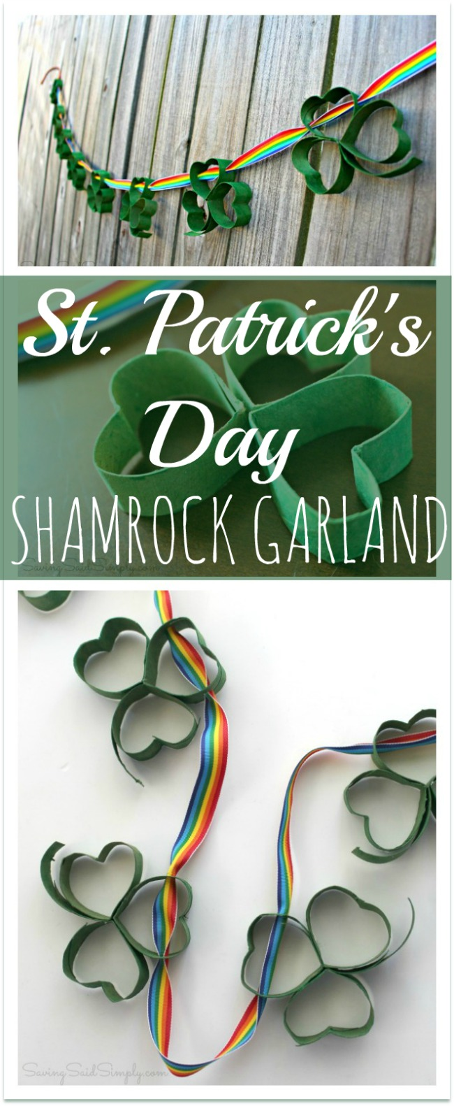 Easy st patricks day kids craft shamrock garland