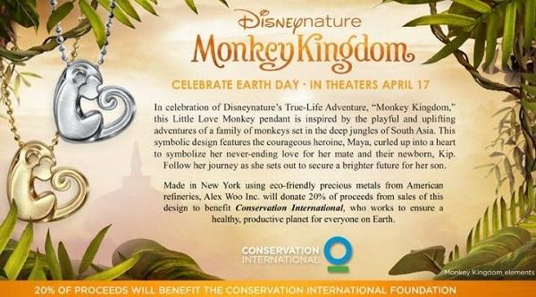 Disneynature monkey kingdom alex woo necklace