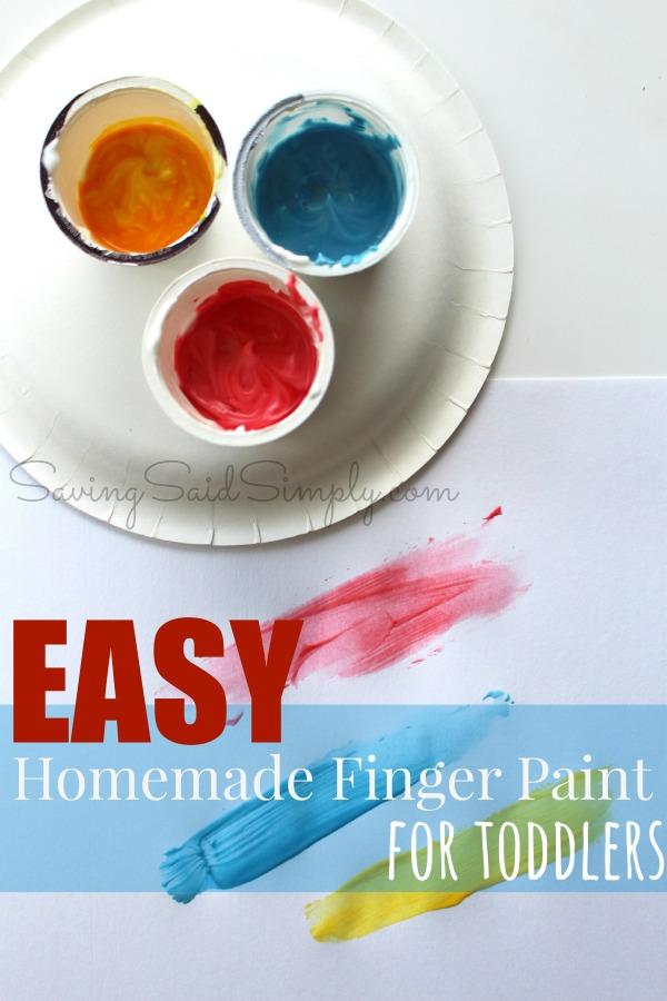 Easy homemade finger paint for toddlers
