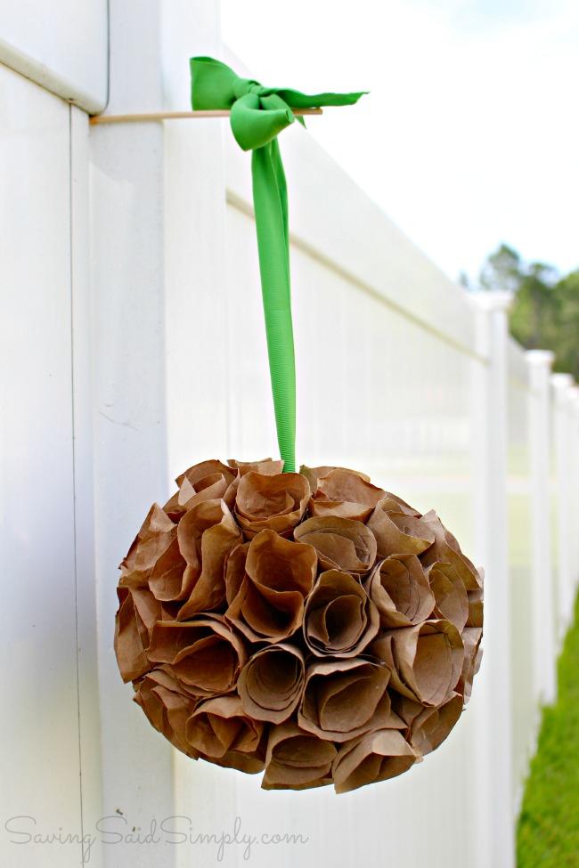 DIY paper bag hanging flower topiary