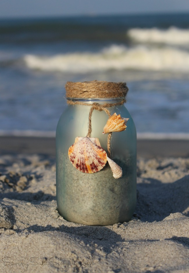 DIY sea glass candle holder DIY Sea Glass Candle Holder + Sunset Beach Date Idea | Create your own DIY painted sea glass candle holder & the perfect sunset beach date kit this summer #Craft #DIY #SummerDIY