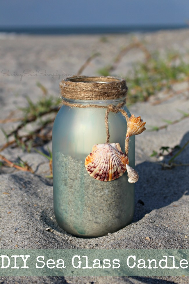 DIY sea glass candle DIY Sea Glass Candle Holder + Sunset Beach Date Idea | Create your own DIY painted sea glass candle holder & the perfect sunset beach date kit this summer #Craft #DIY #SummerDIY