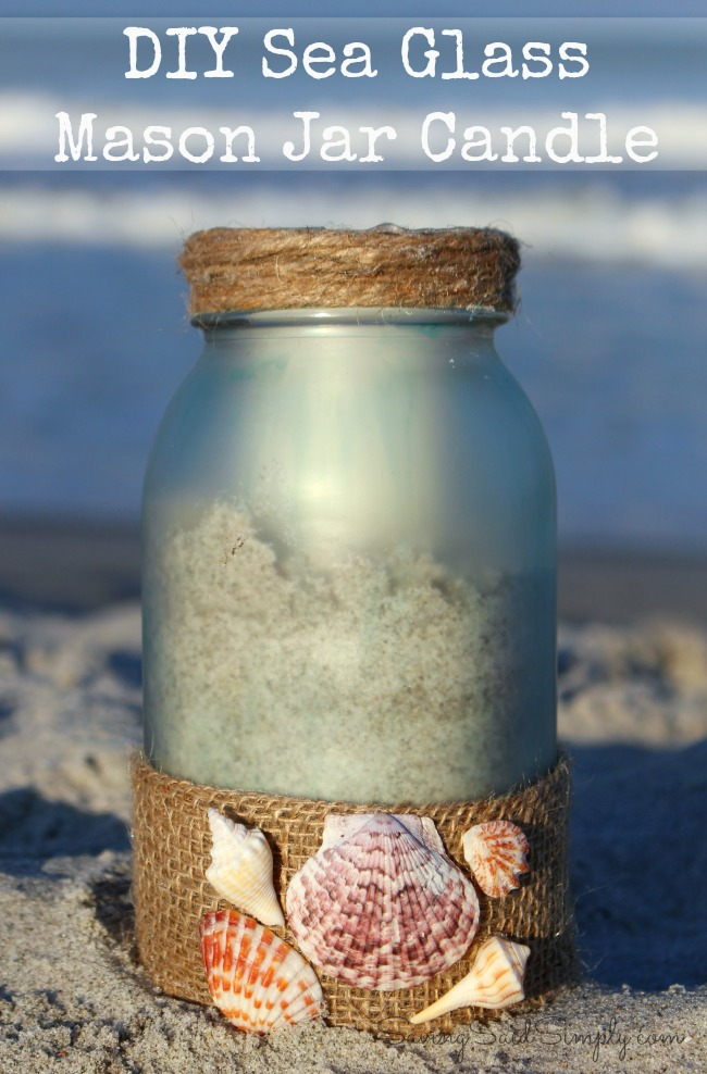 DIY sea glass mason jar candle holder
