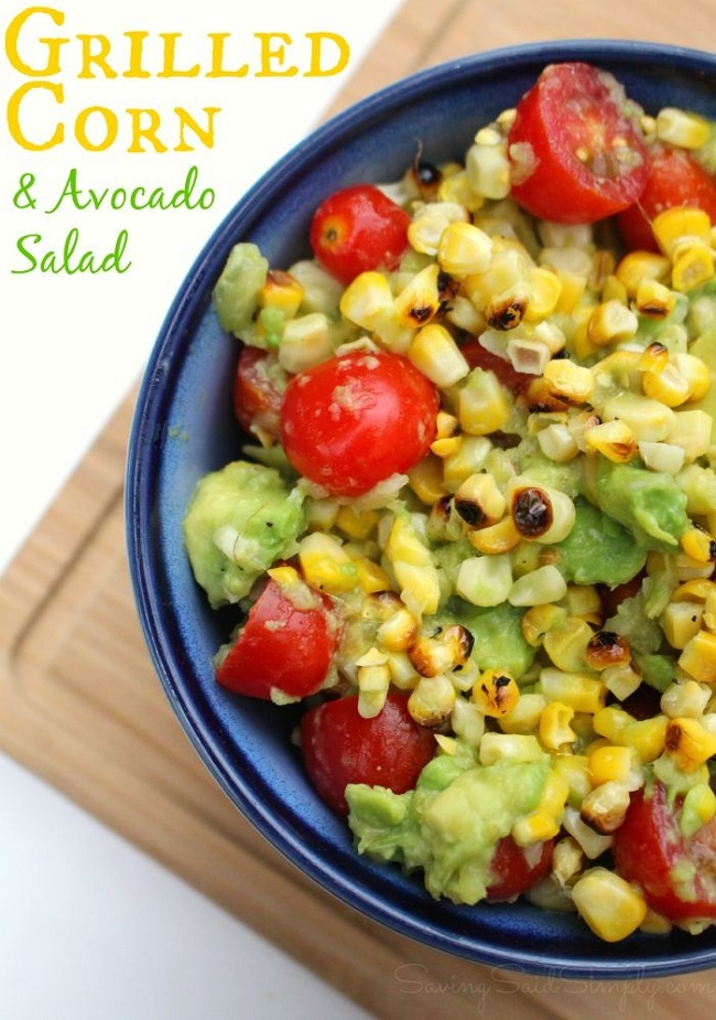 Grilled Corn and Avocado Salad Recipe | Step up your BBQ game with this delicious easy grill side dish that's paleo, gluten free, dairy free and vegan! Fresh flavors to fire up the grill this summer! #Recipe #GlutenFree #Vegan #DairyFree #Appetizer