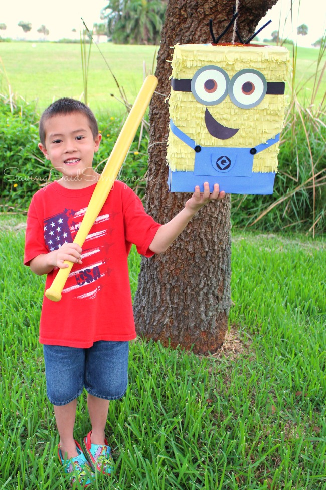 Minion party ideas DIY Minion Pinata | Great ready for the new Minions Movie with this easy DIY Minions Pinata! Frugal Despicable Me party idea for the kids #PartyPlanning #Minions #KidsParty
