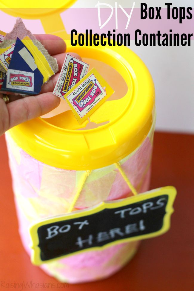 Box tops collection container diy