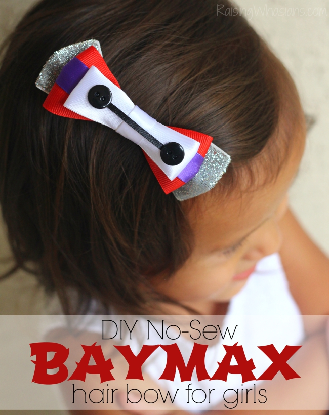 No sew Baymax hair bow for girls diy
