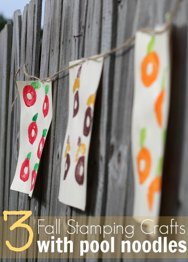 Fall stamping crafts with pool noodles