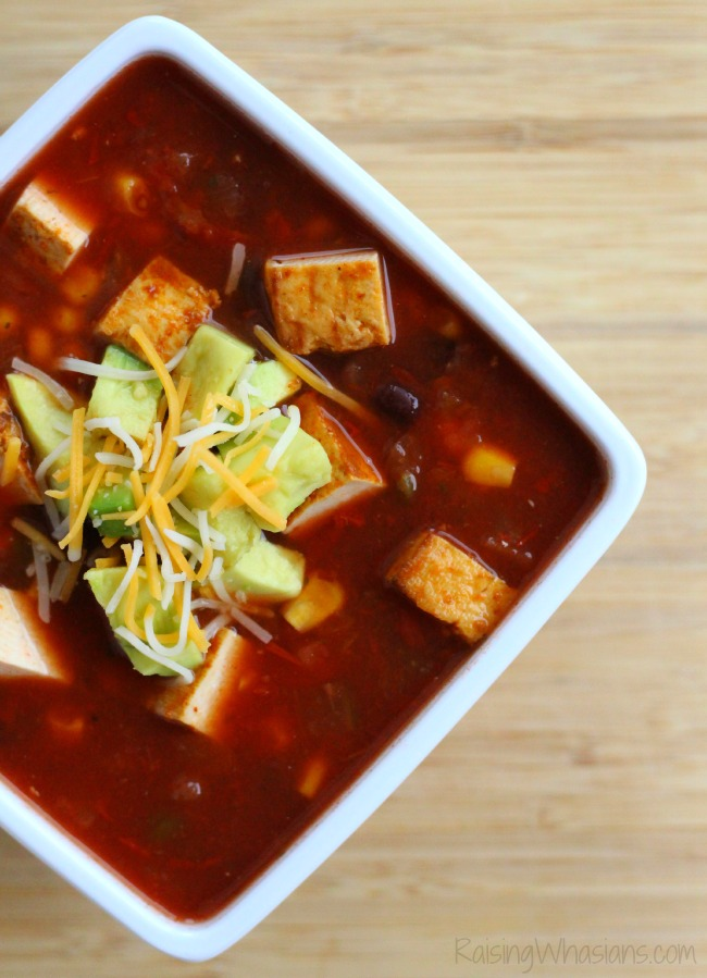Easy Vegetarian Tortilla Soup Recipe + Nasoya Giveaway | Vegetarian, gluten free and dairy free soup is made quickly and easily, even in the crockpot! #Recipe #CrockPot #Vegetarian #GlutenFree #DairyFree #Soup