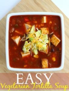 Easy vegetarian tortilla soup recipe