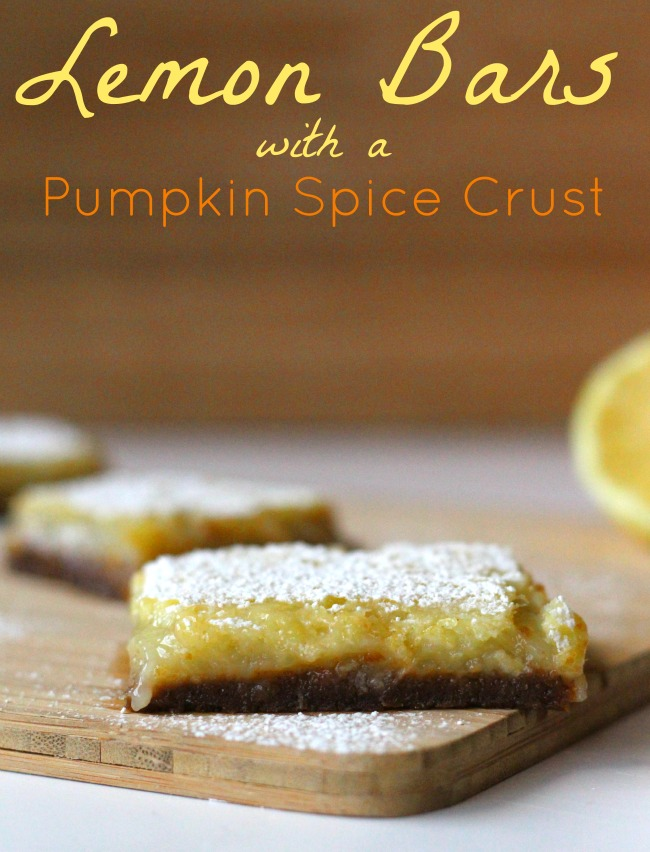 Lemon bars with a pumpkin spice crust