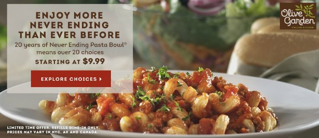 Olive Garden Never Ending Pasta Bowl Is Back For 2015