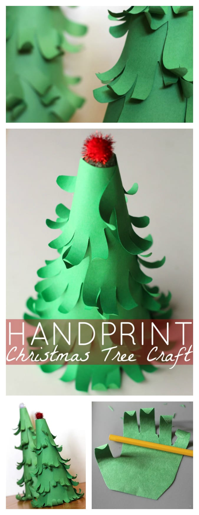 Easy 3D Handprint Christmas Tree Craft | Make a unique and adorable holiday keepsake with this handprint inspired easy Christmas craft for your kids - #Christmas #Craft #DIY #KidsCraft