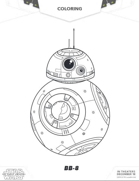 Free star wars the force awakens coloring sheets activities