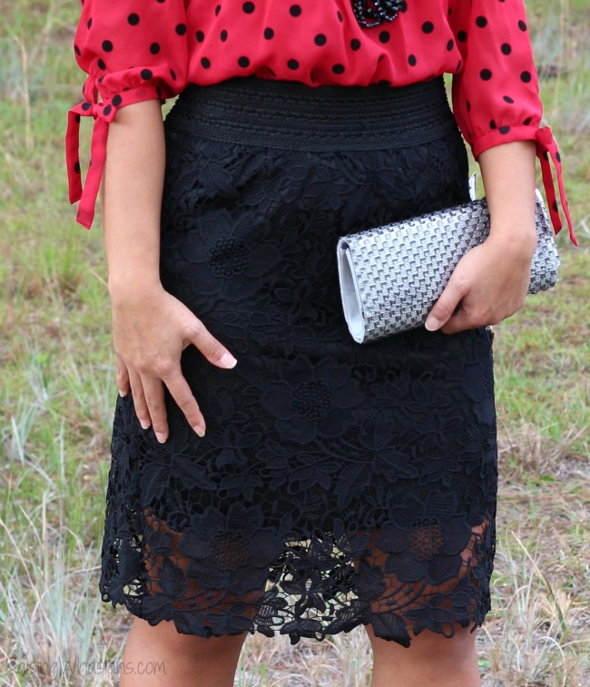 Lacy black skirt clearance