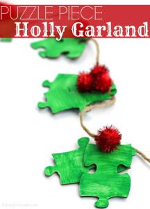 Puzzle piece holly garland