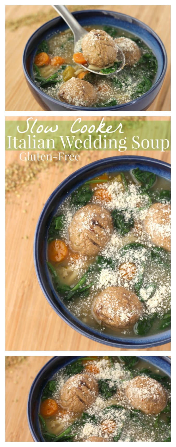 Gluten-Free Slow Cooker Italian Wedding Soup Recipe | A delicious healthier twist on a hearty soup for the family, made in your crock pot, no gluten #Recipe #SlowCooker #Soup #EasyRecipe #GlutenFree #GlutenFreeRecipe