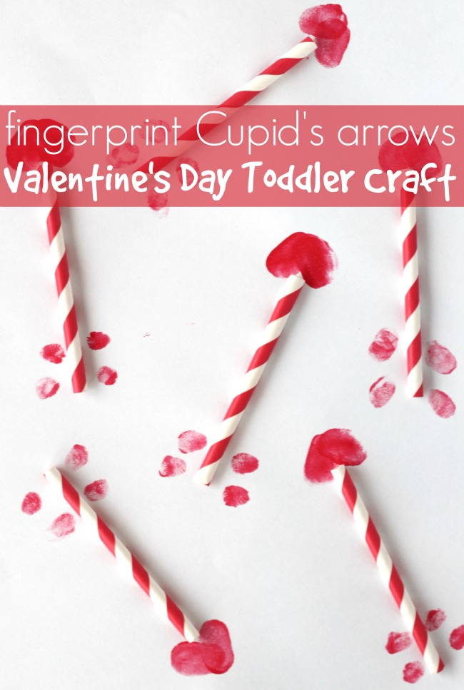 Valentines day toddler craft fingerprint cupids arrows