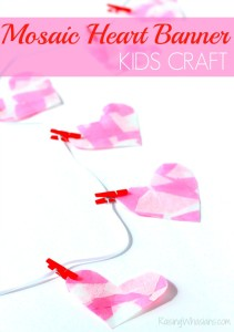 Mosaic heart Valentines day banner kids craft