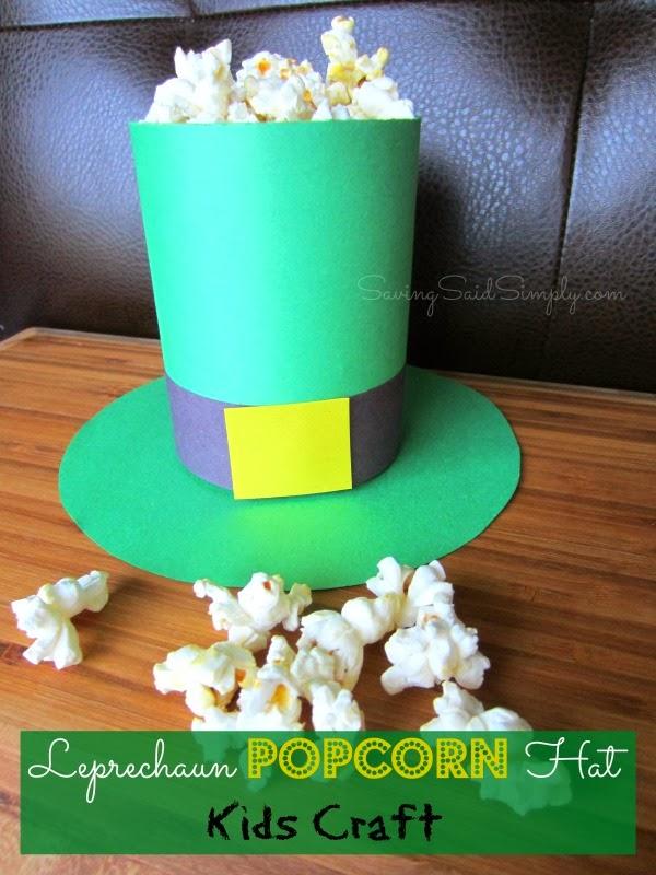 Leprechaun popcorn hat kids craft