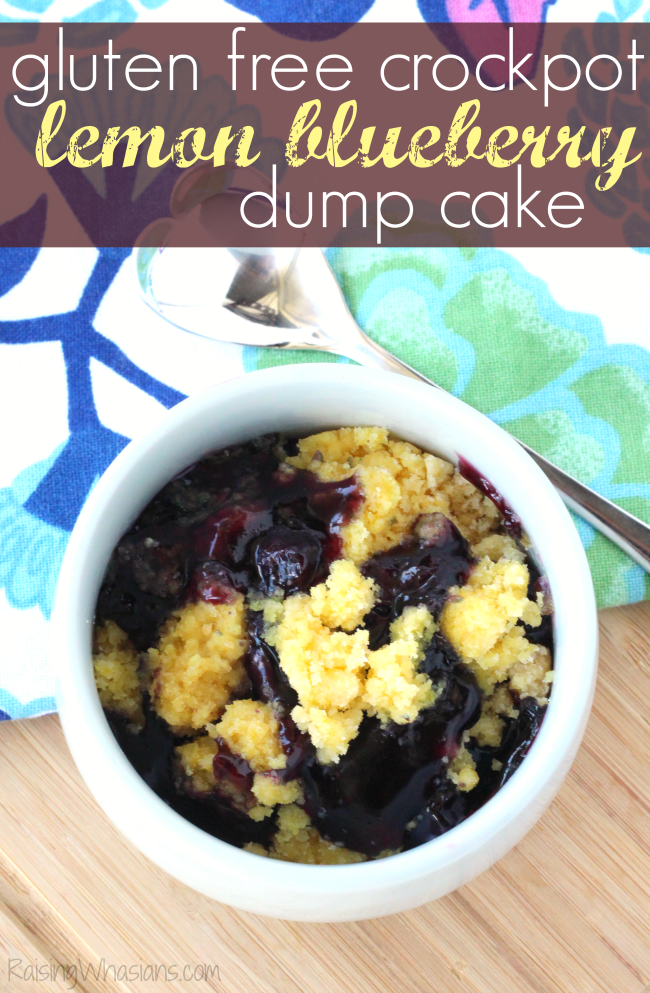 Gluten Free Crockpot Lemon Blueberry Dump Cake | This gluten free dump cake recipe makes an easy and delicious dessert for spring, made in the slow cooker #GlutenFree #Recipe #GlutenFreeRecipe