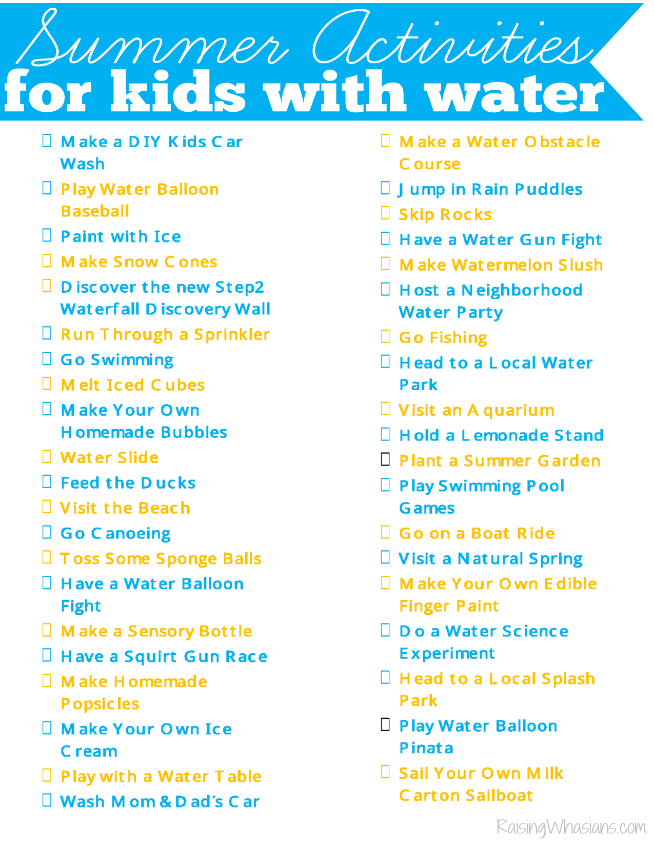 Summer activities for kids list printable