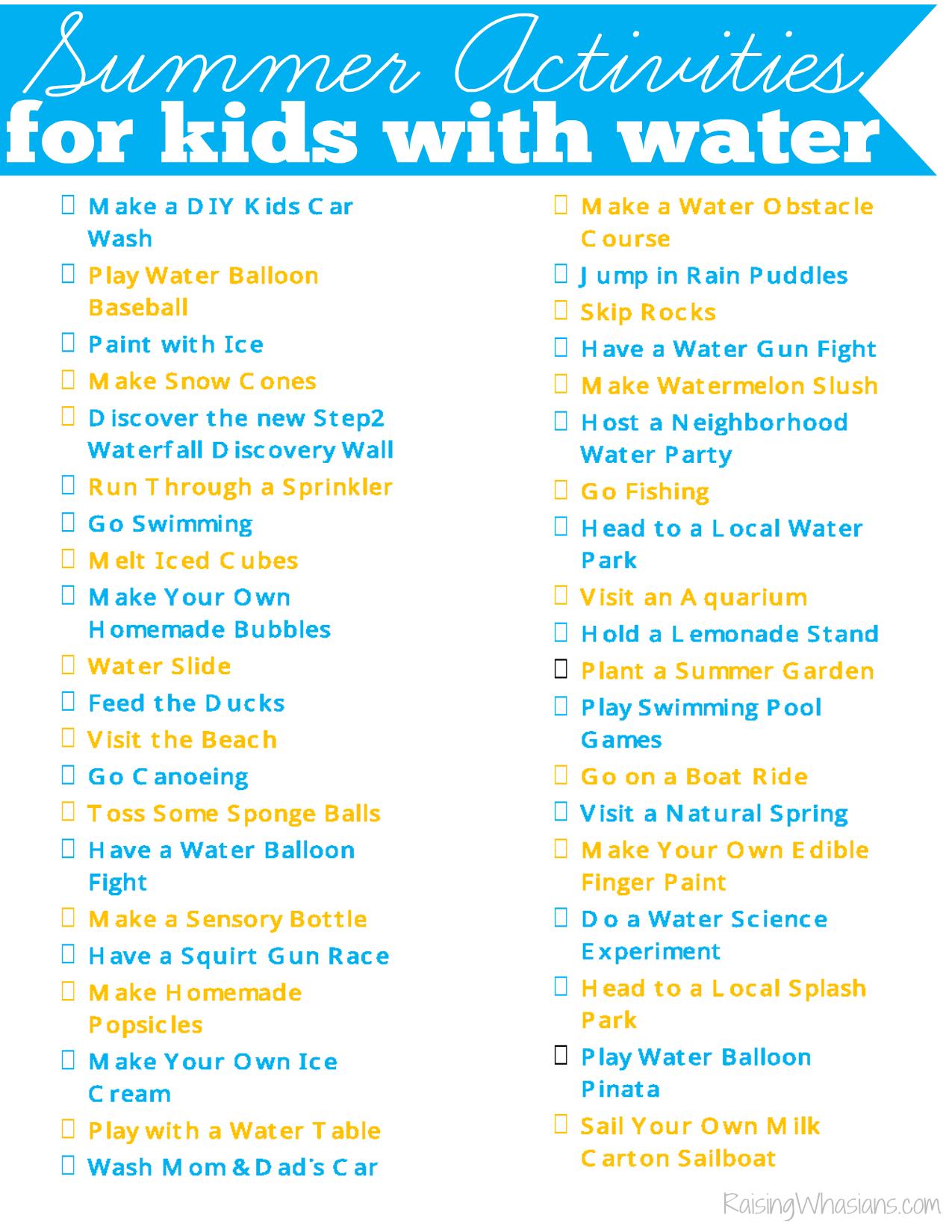 Summer activities for kids list printable
