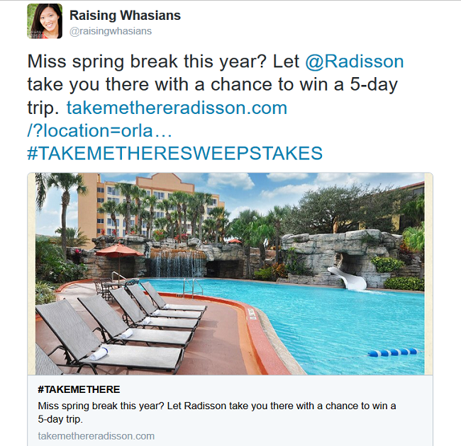 #TakeMeThere sweepstakes entry
