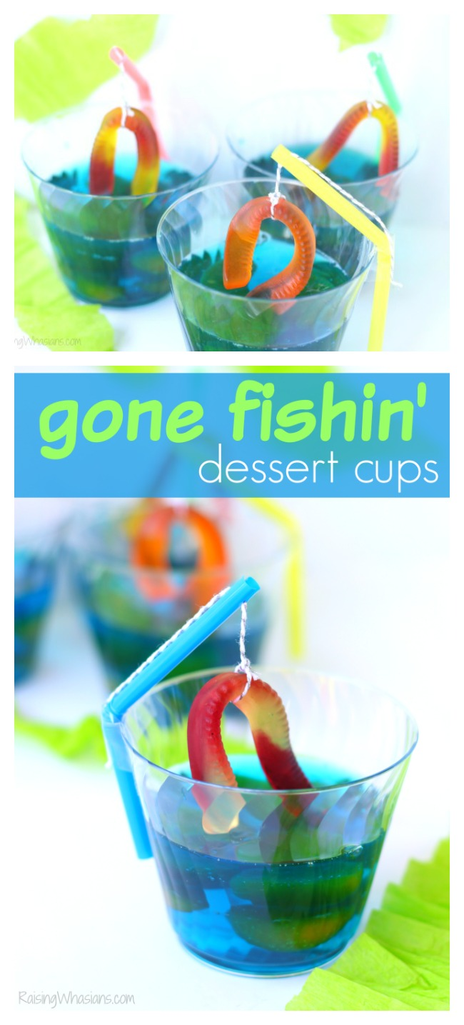 Gone fishing party dessert pinterest Gone Fishing Party Jello Dessert | Make this cute and easy dessert Jell-O cups for your next fishing themed party, complete with DIY fishing pole #PartyPlanning #Recipe