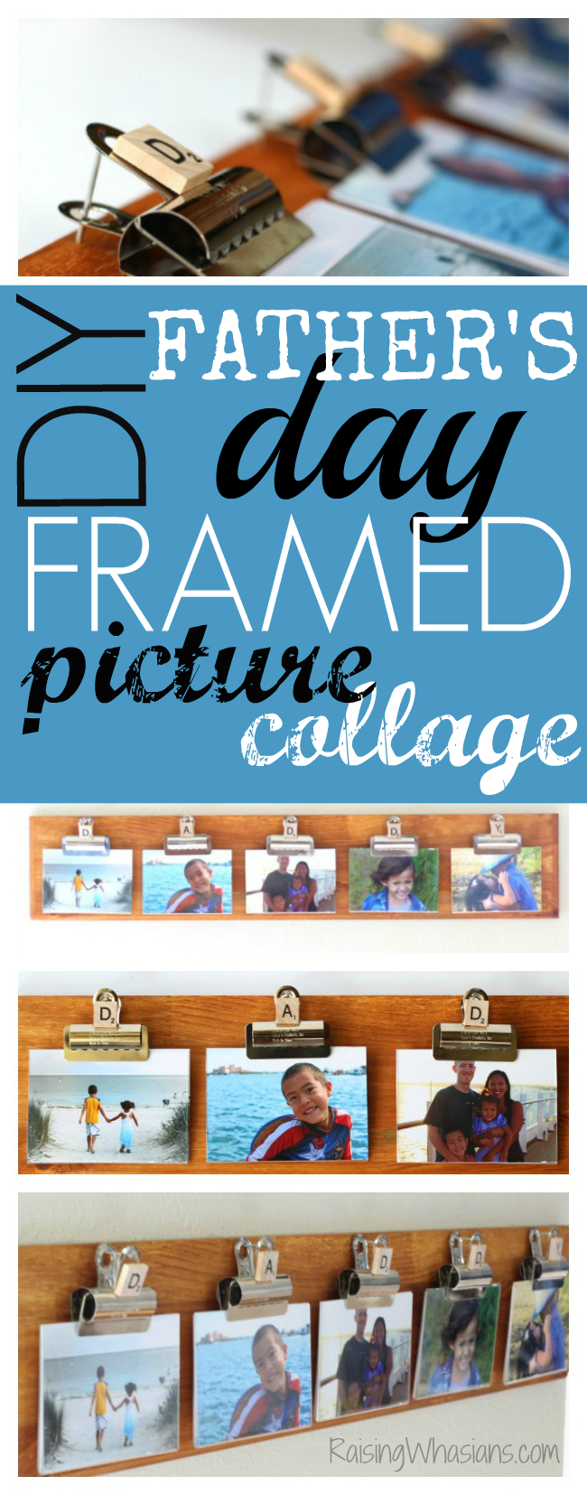 DIY father's day framed picture collage