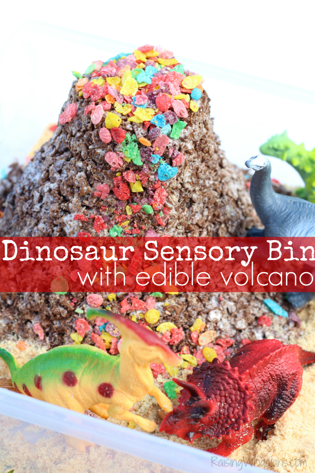 Dinosaur sensory bin with edible volcano
