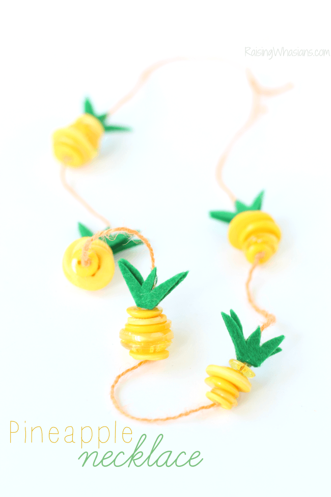 Button pineapple craft necklace