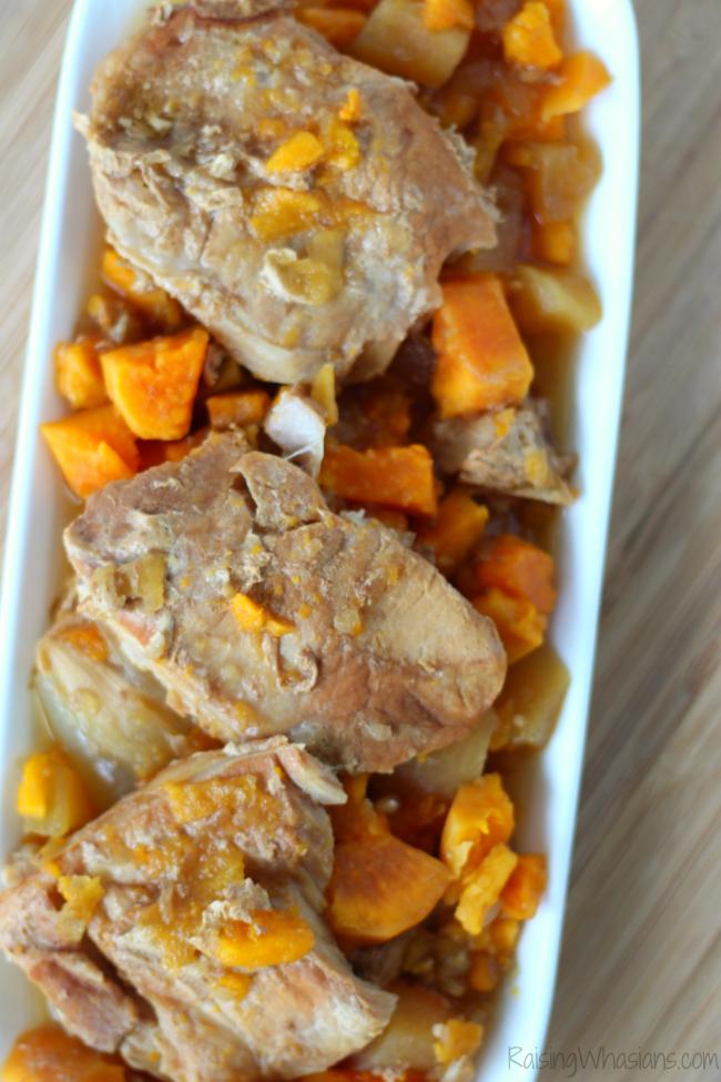 Easy Crockpot Pork Chops with Apples & Sweet Potatoes