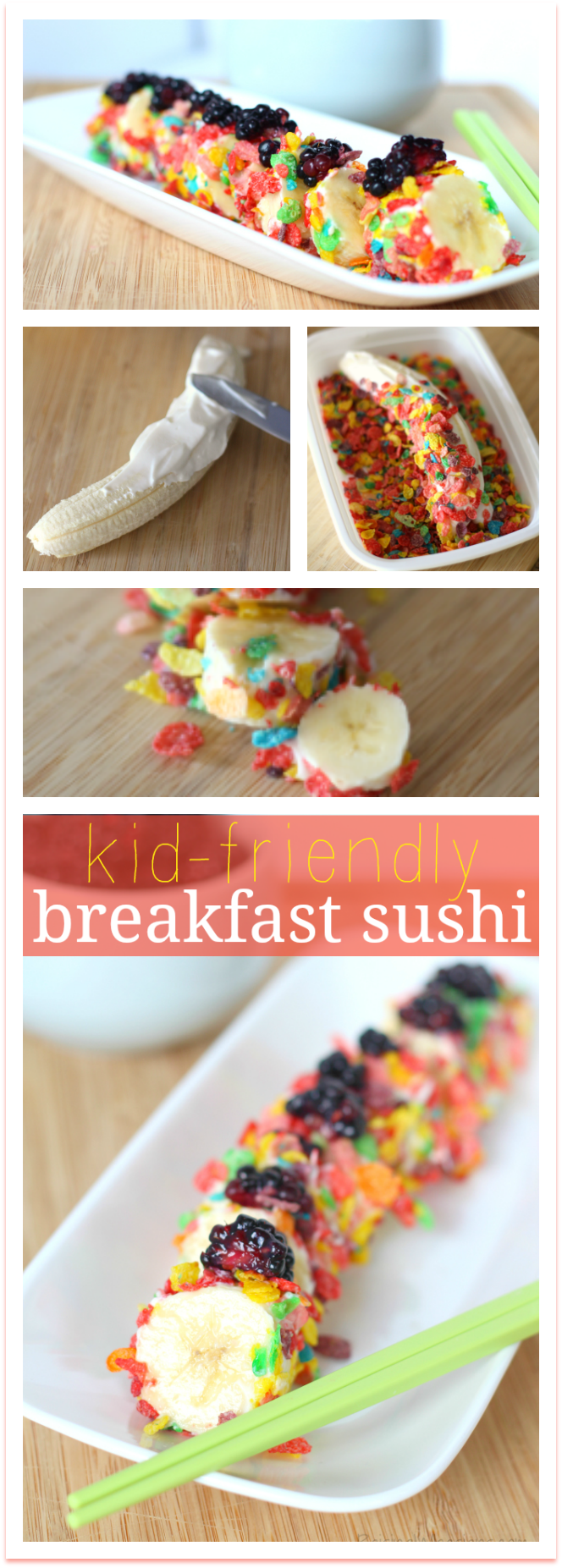 Kid Friendly Breakfast Sushi Recipe | Quick and FUN kids breakfast idea - perfect for back-to-school! Yummy Breakfast Sushi for kids with Fruity Pebbles - Perfect for your back to school meal plan or as part of a kids brunch party. Would also make a great after school snack. #Breakfast #BreakfastRecipe #Recipe #Snack