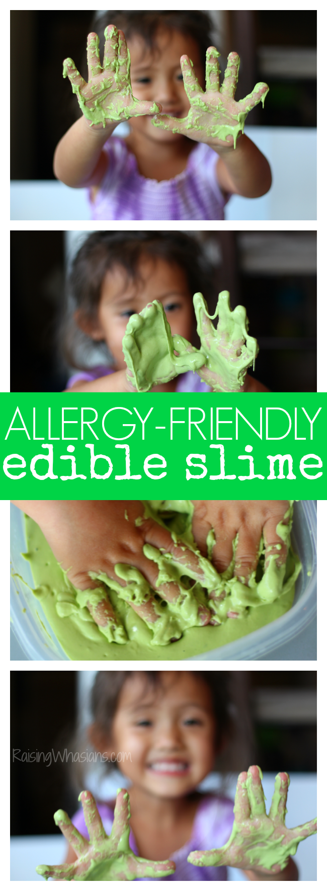 Allergy-Friendly Edible Slime for Toddlers | Only 3 everyday home ingredients are needed for a fun kids activity - perfect DIY slime for kids with allergies Easy slime recipe that works for toddlers. This non-toxic slime is a borax free slime recipe you don't want to miss. #SlimeRecipe #DIY #STEM #Preschool #Slime