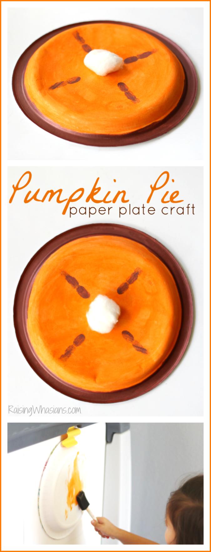 Pumpkin pie paper plate craft for preschoolers