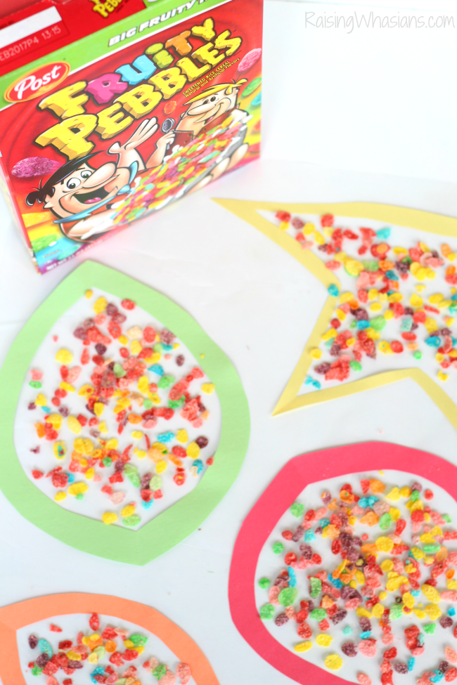 Fall leaf kids craft fruity pebbles