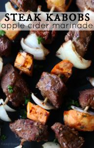 Fall steak kabobs apple cider marinade